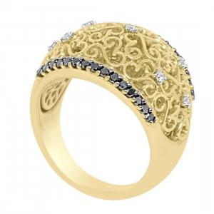 ALFIERI & ST.JOHN Anello a fascia in oro giallo con diamanti mis 14