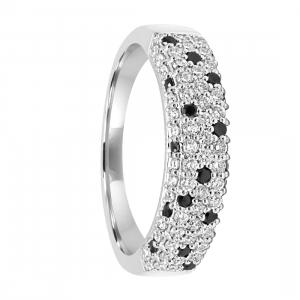 SALVINI Anello in oro bianco con diamanti bianchi e neri ct 0.80 misura 16