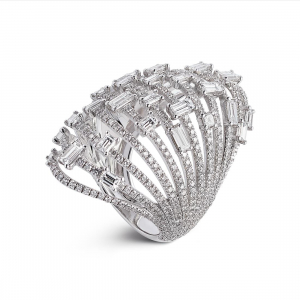 ALFIERI & ST.JOHN Anello a fasce in oro bianco con diamanti