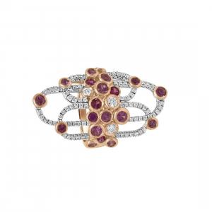 DAMIANI Anello damiani boheme in oro bianco e rosa con diamanti ct 0